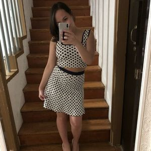 Bebe Jacquard Two Piece Top and Skirt